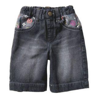 清倉價--日單水洗牛仔中褲七分褲 兒童褲 黑色