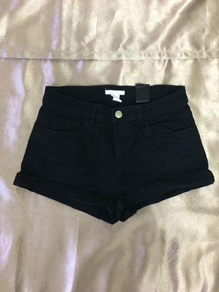 H & M Black Cotton Micro Shorts