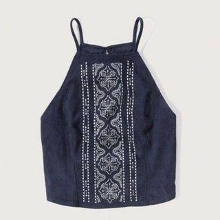 a&f suede navy blue tribal embroidered halter