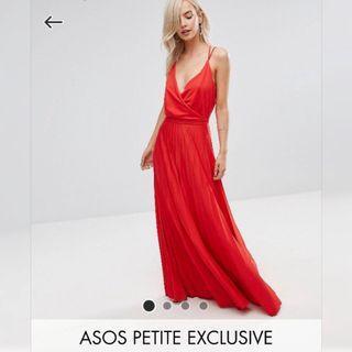 【現貨在台】英國ASOS PETITE 紅色束腰深V褶皺細肩帶連身長裙 / UK8 / 嬌小女孩系列