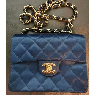 100% Real and 80% New * Chanel Mini Flap Bag 藍色絲質