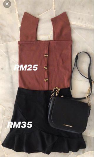 Maroon crop singlet + fish tail skirt