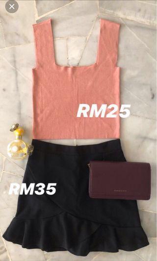 Peachy pink tops + fish tail skirt