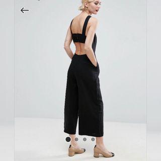 【現貨在台】英國ASOS Minimal 黑色亞麻露背連身長褲 / UK8