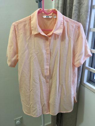 Uniqlo Short Sleeve Peach Orange Rayon Blouse