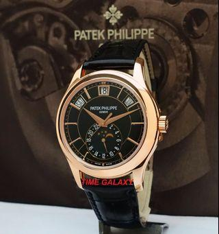 PATEK PHILLIPE Complications Annual Calendar, Moon Phases 40mm Automatic Solid Rose Gold with Black Leather Watch