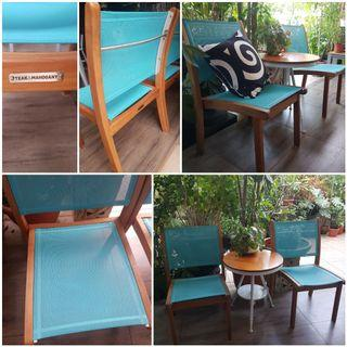teak and mahagony patio chairs. final reduction
