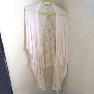 abercrombie & fitch cream lace cardigan kimono