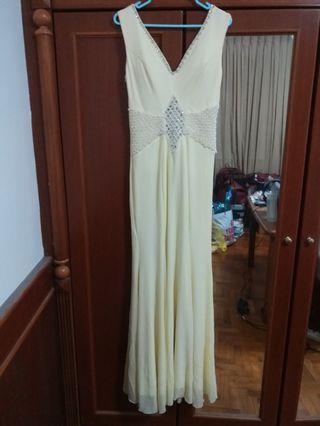 New Crystal n Pearl Ivory Evening Gown Mermaid dress