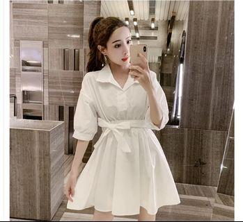 🚚 全新未拆封-白色襯衫連身裙