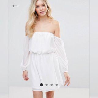 【現貨在台】ASOS Glamorous 白色薄紗露肩長袖連身短裙 / S