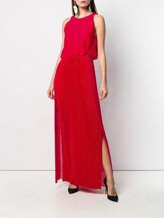 Red Micro pleated dress