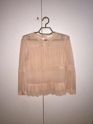 Miss Selfridge blush pink see through blouse