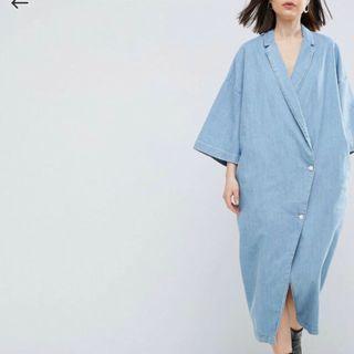 【現貨在台】英國ASOS WHITE 水洗淡藍色日本和服式丹寧牛仔洋裝 / UK6