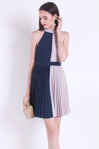 BNWT Neonmello Cleobella Contrast Colourblock Dress in Forest/ Grey XS