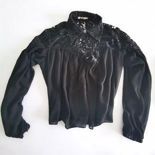🚚 Lace Panel Blouse in Black