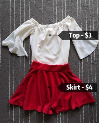 🚚 White Top & Red skirt