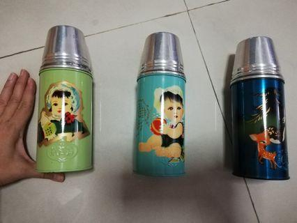 Set of 3 Vintage Flasks