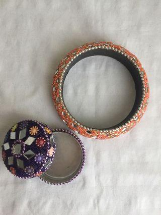 Small Jewelry Box & Bracelet from India