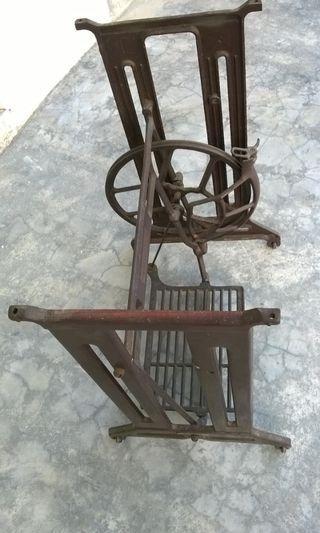 Vintage pedestal sewing machine stand