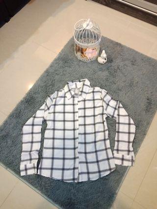White Gingham Chiffon Shirt  #CarouRaya