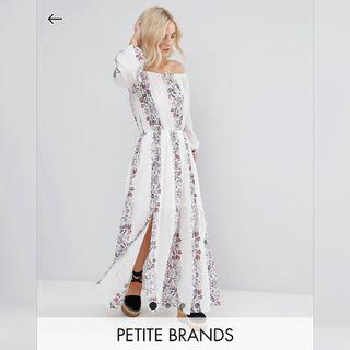 【現貨在台】英國ASOS Boohoo Petite 白色長袖平口印花沙灘連身長裙 / UK8 / 嬌小女孩系列