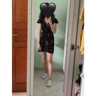 Cherry print wrap dress