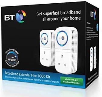 BT Broadband Extender Flex 1000 Kit with wired AV1000 Powerline and pass-through socket