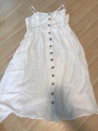 New- H&M uk10 white button down linen dress