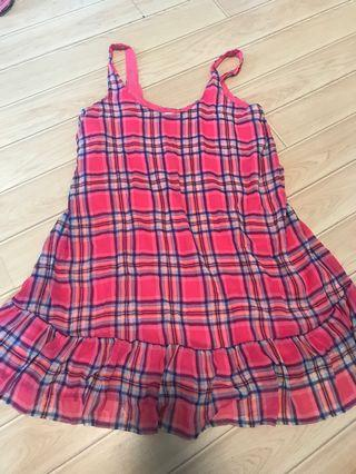 New- Hollister m size checked pink dress