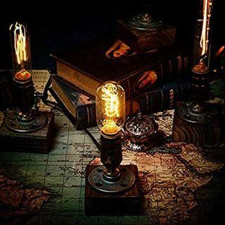 [HG360] OYGROUP Wood Night Light-Table Lamp-Vintage Desk Lamp-E27 Edison Bulb Wooden Retro Industrial Dimmable Nightlight for Bedrooms Living Room Home Art Display Cafe Bar Studio Antique Décor No Bulb