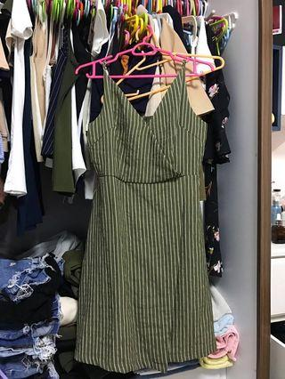 TTR Sammy Wrap Front Dress Olive stripe dress