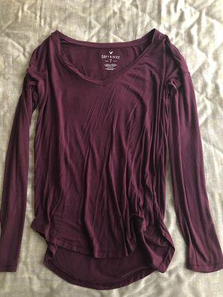 Brand New American Eagle Outfitters Maroon Long Sleeves Top