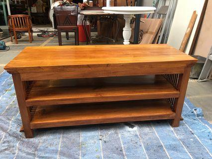 Teak 2-tier Bench/shoe-rack/shelf