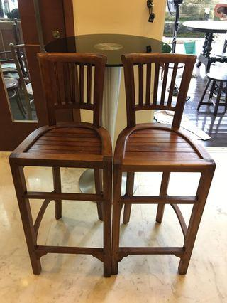 🚚 Teak Bar stools and glass table