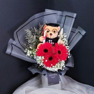#190 | Graduation Bear 3 Gerbera Bouquet | Graduation | Convocation 2019 | Birthday | Anniversary