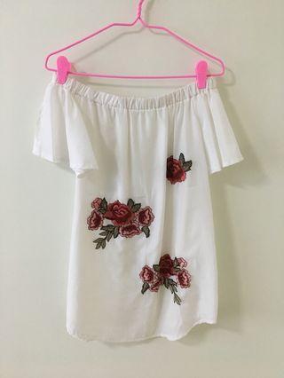 Off Shoulder Floral Embroidered Dress