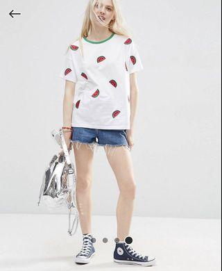 ASOS oversized t-shirt with embroidered watermelons