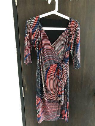 Retro Print Wrap Dress