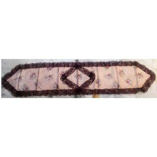 Rose designed Table Runner with burgundy lace