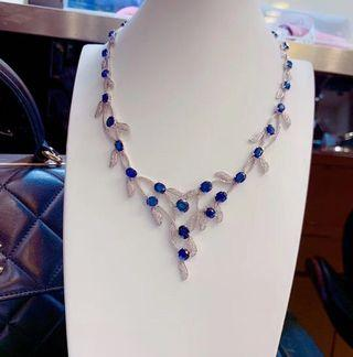 Royal blue sapphire 藍寶石鑽石18k頸鏈