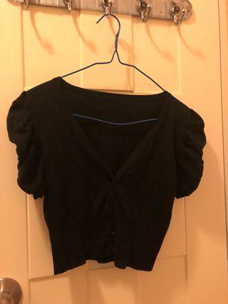 黑色上衣 晚裝 泡泡袖短外套