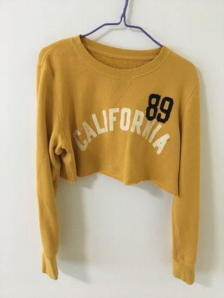 mustard yellow cropped pullover