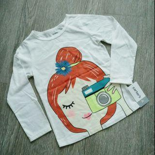 NEW Carter's 3T Girl Long Sleeve Graphic Tee