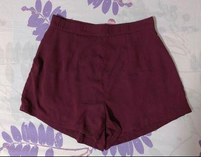Supergurl Wine Red Easy Breezy Shorts