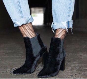 Neon hart velvet ankle boots