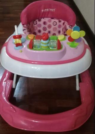 Sweet Heart Paris Baby Walker BW01 (Pink) With 3 Height Adjustment