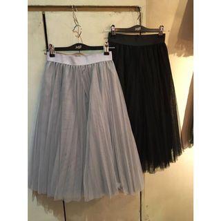 🚚 百褶蓬蓬紗裙 半身裙 黑色