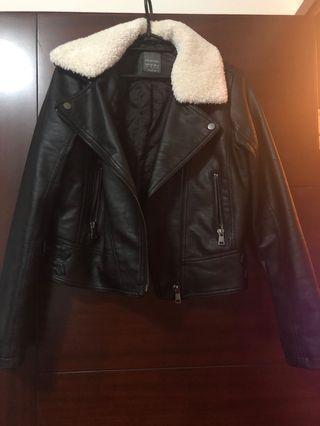 仿皮外套 Faux leather jacket
