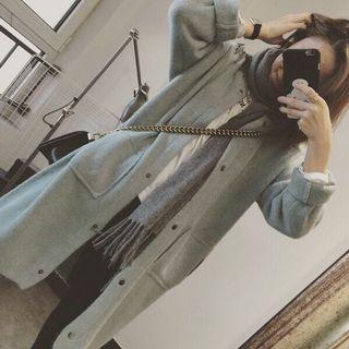 🚚 韓國湖水綠含兔絨長版罩衫外套